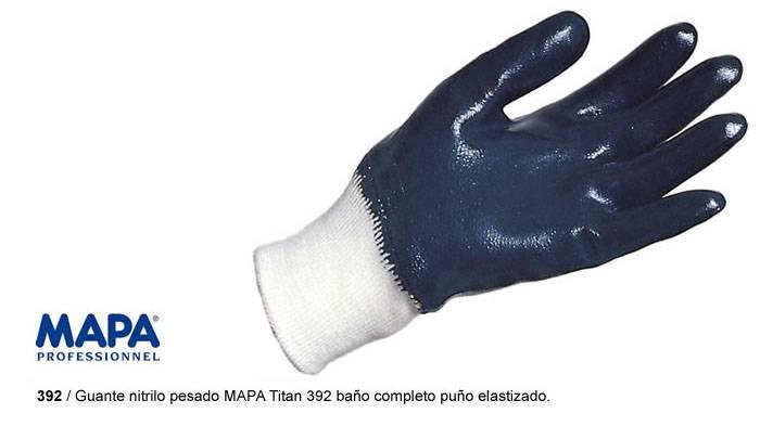 Guante nitrilo pesado MAPA Titan 392 baño completo puño elastizado.