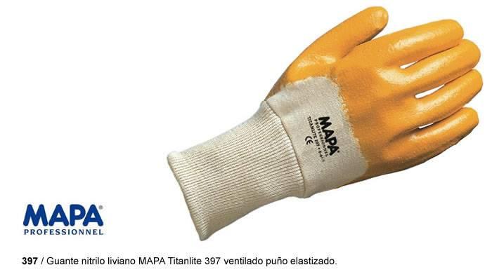 Guante nitrilo liviano MAPA Titanlite 397 ventilado puño elastizado.